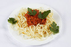 Spaghetti bolognese. Spaghetti serve on plate with meats Royalty Free Stock Photo