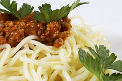 Spaghetti. Serve on plate with meats Royalty Free Stock Photography