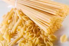 Spaghetti and shells pasta Stock Photos