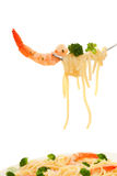 Spaghetti and shrimp Royalty Free Stock Images