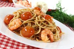 Spaghetti with shrimp Stock Image