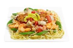Spaghetti with Shrimp Stock Image