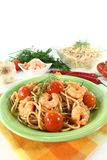 Spaghetti with shrimp and dill Stock Images