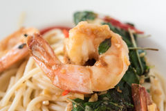 Spaghetti Shrimp Royalty Free Stock Photography