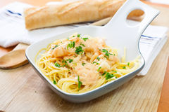 Spaghetti with shrimp Royalty Free Stock Images
