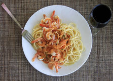 Spaghetti with shrimp Stock Photos