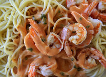 Spaghetti with shrimp Stock Images