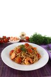 Spaghetti with shrimp and tomatoes Royalty Free Stock Photos