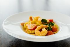 Spaghetti with shrimp Royalty Free Stock Photography