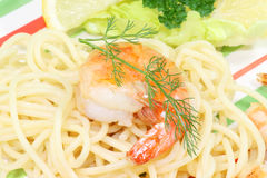 Spaghetti with shrimps Royalty Free Stock Photos