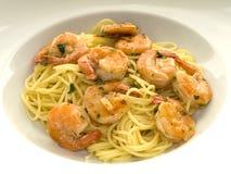 Spaghetti with shrimps Stock Photo
