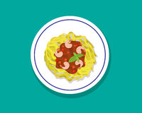 Spaghetti with shrimps and basil in flat style, vector Stock Image