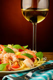 Spaghetti with shrimps Stock Photography