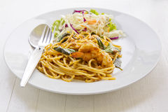 Spaghetti with shrimps,tomato and chopped parsley Stock Image