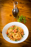 Spaghetti with shrimps and tomato sauce Royalty Free Stock Image