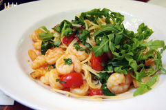Spaghetti with Shrimps and Tomatoes Stock Images