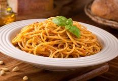 Spaghetti with Sicilian Pesto Stock Images