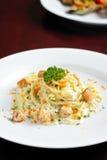 Spaghetti with smoked salmon Stock Images