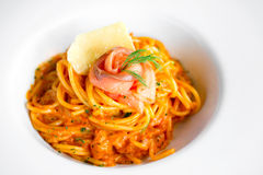 Spaghetti with Smoked Salmon Stock Photography