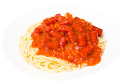 Spaghetti with smoked sausage Royalty Free Stock Photos