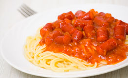 Spaghetti with smoked sausage Royalty Free Stock Photography