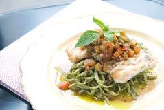 Spaghetti Snow Fish. Seafood Food Stock Photos