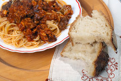 Spaghetti with Soffritto and Bread Stock Photo