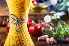 Spaghetti. Some ingredients of Italian cuisine.Italian cuisine Royalty Free Stock Image