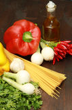 Spaghetti with some vegetables. Some spaghetti with some vegetables stock photo