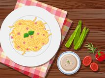 Spaghetti and soup on the table. Illustration Royalty Free Stock Image
