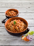 Spaghetti with  soy ragout Royalty Free Stock Photography