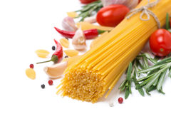 Spaghetti, Spices And Herbs, Isolated Stock Photo