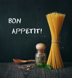 Spaghetti and spices Stock Photography