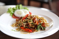 Spaghetti spicy with basil Royalty Free Stock Images