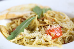 Spaghetti spicy with basil Royalty Free Stock Photos