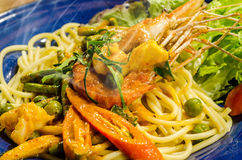 Spaghetti with Spicy Prawn Royalty Free Stock Images