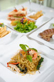 Spaghetti with spicy prawn. Stir fried spicy spaghetti with seafood Royalty Free Stock Images
