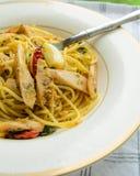 Spaghetti spicy sausage Stock Photos