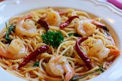 Spicy Sea Food Spaghetti Royalty Free Stock Photo