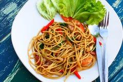 Spaghetti spicy seafood Stock Photo