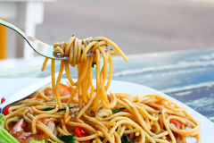 Spaghetti spicy seafood Stock Image