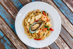 Spaghetti spicy seafood Royalty Free Stock Images