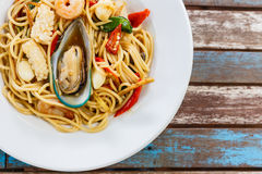 Spaghetti spicy seafood Royalty Free Stock Photo