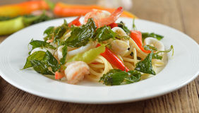 Spaghetti spicy seafood with herb Stock Photography