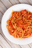 Spaghetti with spicy shrimps Stock Photography