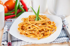 Spaghetti with spicy tomato sauce Royalty Free Stock Photography