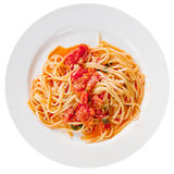 Spaghetti with spicy tomato sauce on white plate Royalty Free Stock Photography