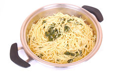 Spaghetti with Spinach Royalty Free Stock Photos