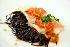 Spaghetti squid ink Stock Photos