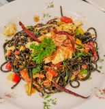 Spaghetti. The spaghetti with squid ink Royalty Free Stock Photo